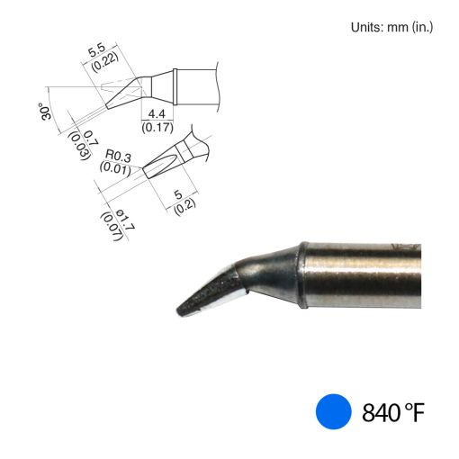 T31-01JD17 Bent Chisel Tip, 840°F / 450°C