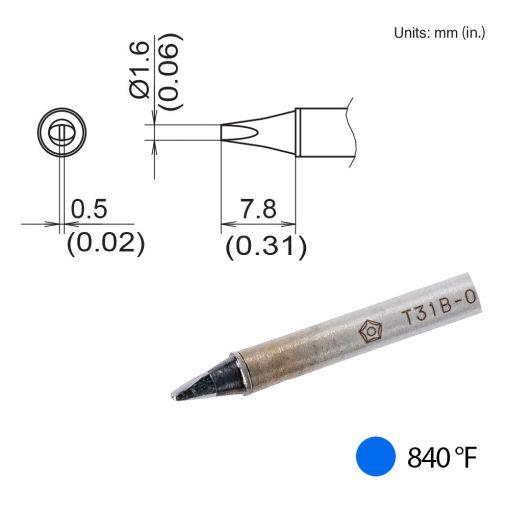 T31B-01D16 Chisel Tip, 840°F / 450°C