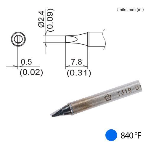 T31B-01D24 Chisel Tip, 840°F / 450°C