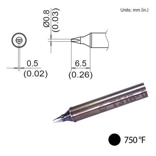T31B-02D08 Chisel Tip, 750°F / 400°C