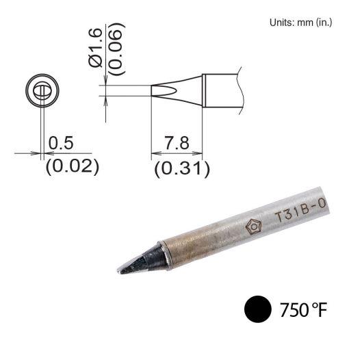 T31B-02D16 Chisel Tip, 750°F / 400°C