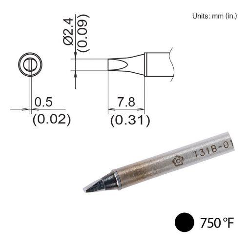 T31B-02D24 Chisel Tip, 750°F / 400°C